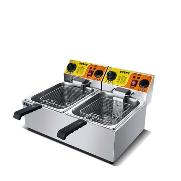 Industrial Double Tank Fish Fryer with Oil Filter Cart, Automatic Computer Control Deep Fryer